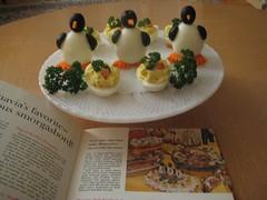 Smorgasbord penguins (sparkleneely) Tags: food vintage penguin egg olive retro vintagerecipes olivepenguins midcenturysupperclub