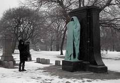 mel goes flickring (annette62) Tags: snow chicago cemetery grave photographer mel graceland gravestones eternalsilence