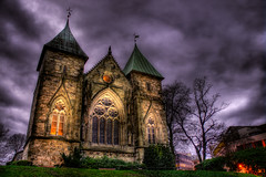 Stavanger domkirke (Amundn) Tags: old church norway stone night clouds stavanger norge nikon cathedral gothic medieval oldest hdr holytrinity 1125 domkirke d300 saintswithun 5xp bishopreinald