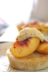 Almond Cakes with Roasted Peaches