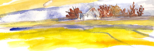 Watercolor Sketch - House on Hill