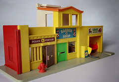 Police Station, Barbershop & Garage Inside (ChrisM70) Tags: auto city station set hydrant vintage toys fire play garage police retro barbershop fisherprice