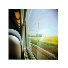 Caen-Paris (sarafossette) Tags: paris france color field train holga caen