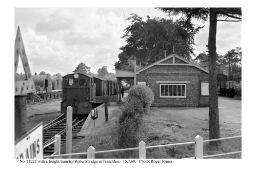 Tenterden. 11223 & freight train ready to leave. 15.7.60 (2)