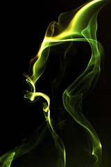 Green Scream (Samer Farha) Tags: black color green yellow electric smoke curves scream processed incense foamboard humanlike img7750 vivitar285hv farhafotocom