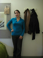 Me - Blue Sweater (chicgeekuk) Tags: blue laura wool girl sweater turquoise buttons knit fenwick kishimoto vneck laurakishimoto laurakishimotoca