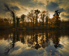 Bois de Vincennes (Aur from Paris) Tags: autumn sky panorama sunlight lake paris france fall nature sepia canon season landscape duck colorful scenic panoramic toned boisdevincennes rembrandt dri couds chromatic vincennes stiched digitalblending aur betterthangood