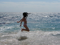 joy & happiness (romanalilic) Tags: ocean california blue sea beach water girl clouds happy jump joy happiness playa sur baja romana