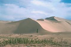 Dunhuang, China (GothPhil) Tags: china 35mm landscape scenery desert kodak dune may scanned silkroad 1989 kodachrome sanddunes gansu dunhuang asa64