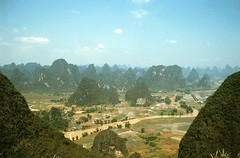 Landscape near Yangshuo, China (GothPhil) Tags: china rural 35mm river landscape liriver kodak yangshuo scanned limestone april 1991 karst ektachrome lijiang asa200 paddyfields riceterraces guangxi geological moonhill