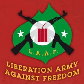 Het logo van Consument en Veiligheid's L.A.A.F. (Libearation Army Against Freedom)