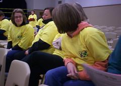Volunteers waiting for assigments.