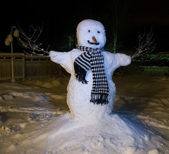 the snowman has landed in the middle of my garden :)) (Henri Bonell) Tags: winter snow finland snowman mywinners abigfave superbmasterpiece diamondclassphotographer theunforgettablepictures
