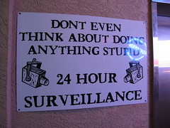 24 Hour Surveillance (Andrew Huff) Tags: sign florida surveillance stupid fl marcoisland veniceflorida