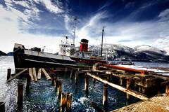 Old Tug Boat (Greg.b.) Tags: ocean wood old winter canada mountains beach vancouver boat dock bc rusty columbia tugboat british pilings squamish hdr britannia rustyandcrusty britanniabeach mywinners seaspanchinook