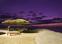 Heaven On Earth (Timhaiti) Tags: ocean pink sunset sea house mist color beach water colors beautiful wall canon bench concrete sand bravo perfect colorful purple cement gazebo hut fav digitalrebel firstquality xti 400d mywinners abigfave anawesomeshot diamondclassphotographer timhaiti