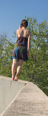 be still (day 74) (shadowlily) Tags: california sky selfportrait love girl self shadows sunny barefoot shorthair balancing forward sundress anklet rainbowdress