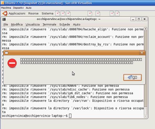 Fig 16 - VirtualBox snapshot - primi segni della devastazione dopo comando di cancellazione