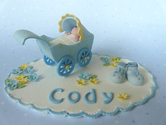 Christening Cake topper (abbietabbie) Tags: blue yellow sugar explore christening bootees topper pram