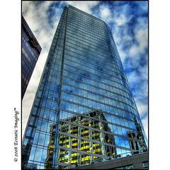 The Golden Heart of the Blues (ecstaticist) Tags: blue sky canada reflection building tower window glass vancouver clouds skyscraper gold bc britishcolumbia casio hdr 5x photomatix tonemapped tonemapping abigfave goldenvisions