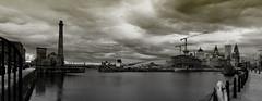 Albert Dock, Liverpool (Panoramic) (dlsmith) Tags: bw panorama white black water monochrome liverpool dock ship sony dramatic stormy panoramic alpha pumphouse albertdock liverbuilding a700 dlsmith