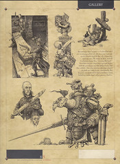 "Cry Havoc Page 1 - A selection of the many drawings produced for Rackham Miniatures. Shown here in their magazine ""Cry Havoc"", the brief called for dark, gritty characters shown in great detail."
