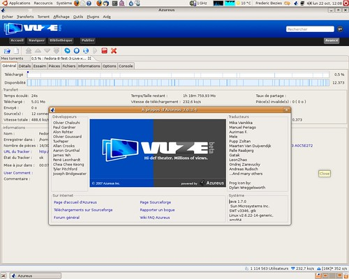 Azureus 3.0.3.4 avec Iced Tea sous Ubuntu Linux 7.10 AMD64