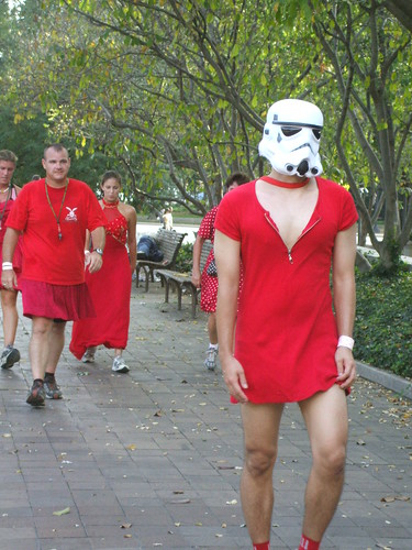 Storm trooper in a red dress