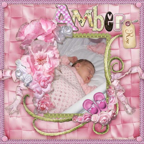 Amber Rose newly born baby girl digital photo template page