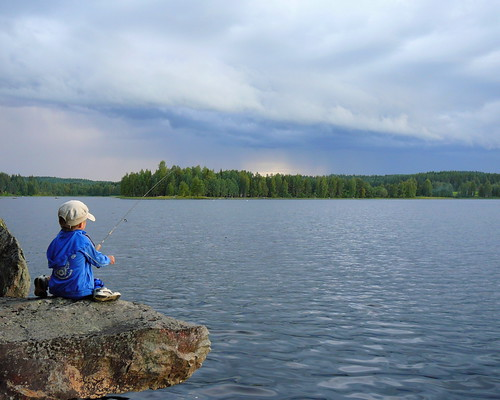 My son, fishing.
