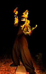 The Headless (and Horseless) Horseman (#155 of 365) (Krelic) Tags: portrait halloween self pumpkin pentax jackolantern flames fisheye 365 sleepyhollow headlesshorseman 365days k100d