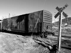 Yreka Western Railroad (TRUE 2 DEATH) Tags: california railroad shadow blackandwhite bw sign northerncalifornia train dark rust crossing mud graf rustic dirty railcar rusted signage boxcar siskiyou railfan freight railroadcrossing yreka yw siskiyoucounty benching yrekawestern yrekawesternrailroad