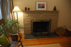 Zen style - painted stone fireplace makeover w...