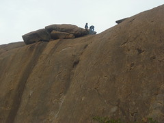 The Start point from the ground (aanjhan) Tags: trekking bangalore rappelling rbin ramnagar chimneyclimbing