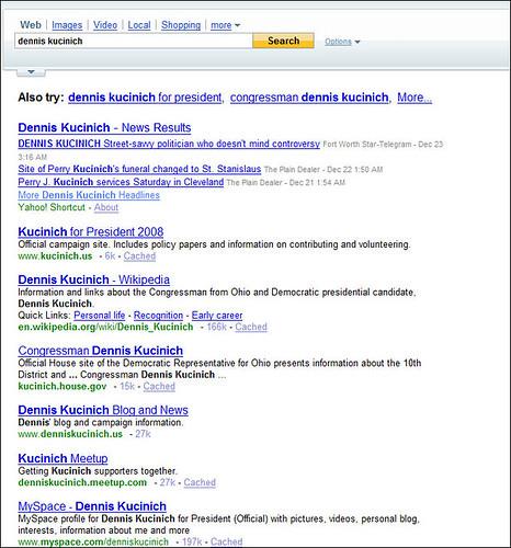 Dennis Kucinich Yahoo Search
