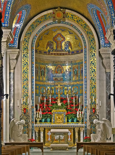 Cathedral Basilica of Saint Louis, in Saint Louis, Missouri, USA - Blessed Sacrament Chapel, decorated for Christmas
