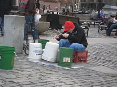 Drummer in front of Faneuil Hall