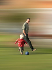 Footie (Pete Ivermee) Tags: playing game ball football dad soccer son fatherandson