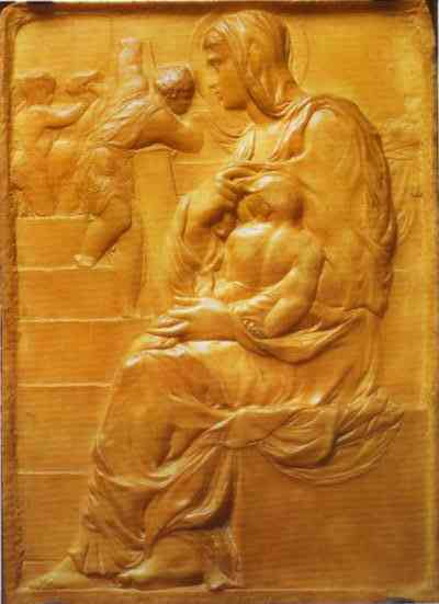 MICHELANGELO, Buonarroti Madonna of the Stairs, c1490