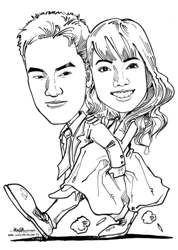 Caricatures couple ink wedding
