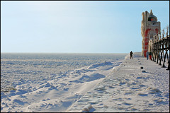 south haven light frozen lake