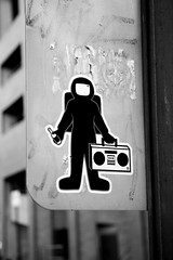 the spaceman returns from 1984 (damonabnormal) Tags: street urban blackandwhite bw streetart canon graffiti sticker arty jan stickers january urbanart 2008 phl citystickers streetstickers