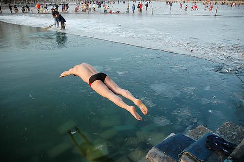 Bit Nippy - Winter Swimming at Hou Hai Lake