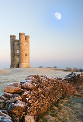 Folly (rob mccoll) Tags: uk winter sky moon snow cold tree castle weather vertical architecture sunrise outdoors photography frost day broadway nopeople cotswolds remote stonewall soe warwickshire folly beaconhill scenics clearsky tranquilscene covering broadwaytower traveldestinations famousplace beautyinnature supershot buildingexterior cotswoldstone coldtemperature horizonoverland picturefantastic betterthangood fbdg