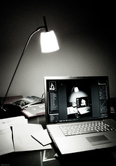 Workplace (noelboss) Tags: light bw white black apple lamp wall computer dark paper macintosh table book licht blackwhite pc mac ibook desk laptop sony letters pad highcontrast location workplace pro 17 tisch stgallen schatten glas dunkel briefe alltag leuchten macbookpro dsch5 sonydsch5 noelboss