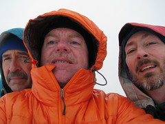Steve, Rob, Matt on a very cool and windy summit.