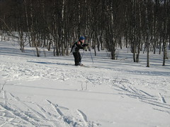 Practising to ski down hill