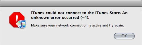 iTunes error -4