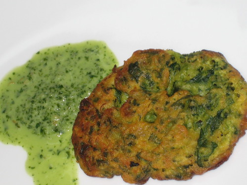 Pakora and mint cilantro chutney
