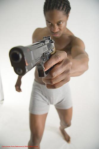 Man with Gun Pointing